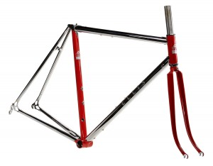 The finished frame with a classic red and silver paint scheme.